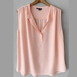 VINCE PEACH SHIRRED SHOULDER CREPE TOP BLOUSE 12